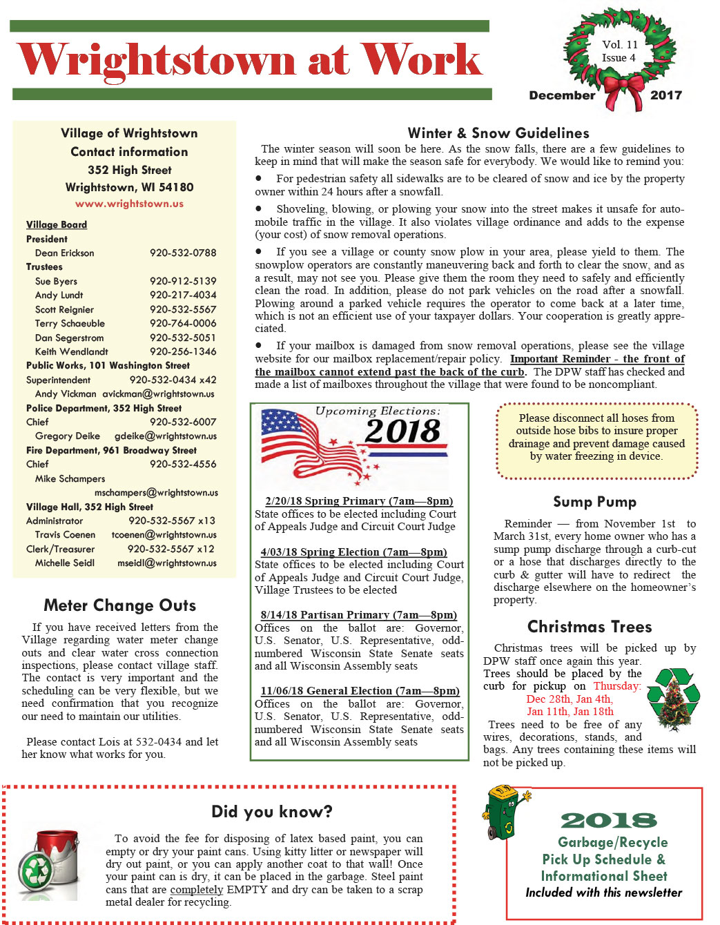 2017 December Wrightstown News,Wisconsin,city news,wrightstown at work