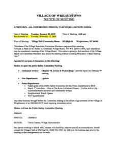 1-29-19 Agenda - Rescheduled - Village of Wrightstown